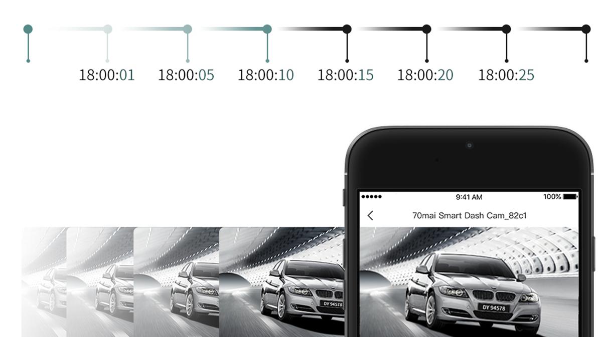 70mai Smart Dash Cam S1 cyklické nahrávání